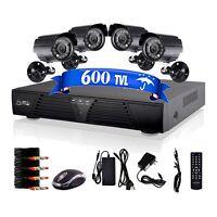8 CH CCTV H.264 DVR 4 600TVL Outdoor Night Vision Home Security Cameras System