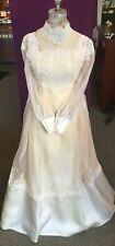 Vintage William Cahill Victorian Style Long Sleeves Wedding Dress, Lace Bodice