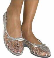 STUART WEITZMAN Jellystone Crystal Embellished Open Weave Clear Jelly Flats  7