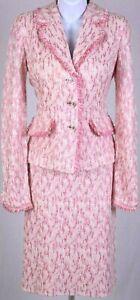 ST.JOHN Womens Knit Fringed Pink White Rhinestone Shimmer Jacket  Skirt Sz 8-10