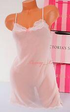 VS VICTORIA'S SECRET Lingerie Slip Sheer Slit Babydoll Unlined S Small Pink NWT