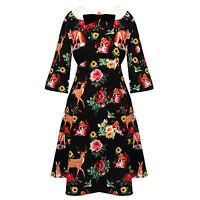 Hell Bunny Hermeline Black Fox Deer Print 1960s Retro Vintage Mini Dress