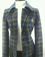 MISS SIXTY Jacket/Trench Coat Wool M60 Winter Plaid Belted Blue/Brown sz L $369