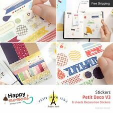 Petit Deco V3 Stickers Diary Planner Scrapbooking Decoration Stickers 8 sheets