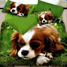 3 Pcs King 3D Bedsheet Brittany Spaniel Puppy Theme Fitted Sheet w/ Pillowcase