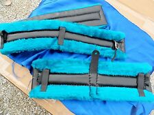 Horse or Mule Fleece Harness Saddle & Breast Collar Pads Set Amish Made! Teal