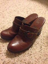 Ladies Born Concept Mule Clog High-Heel Shoe Brown Leather Sz 6 EU 35.5 MC14306