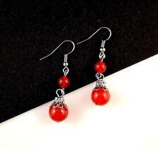 1 Natural Pair of Red Agate Dangle Gemstone Earrings - #475