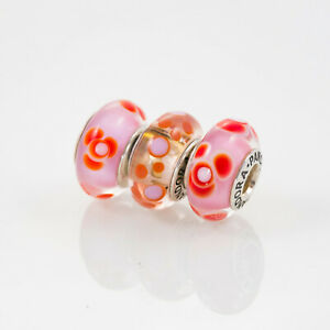 Pandora Lampwork Beads, Lot of Three, Pink and Red