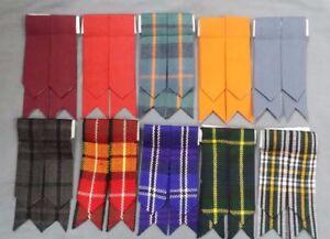 SH Scottish Kilt Hose Socks Flashes Garter Pointed various Tartans Acrylic Wool