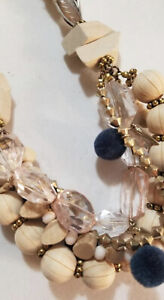 Plunder Design Fashion Vintage Jewelry Libby CrystalStone WoodBead Cord Necklace