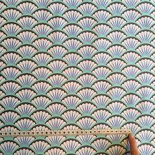 Michael Miller Fan Dance fabric in Aqua - Art Deco - Aqua - Mermaid