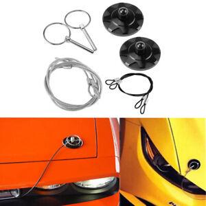 2Pcs Black Universal CNC Billet Aluminum Racing Hood Pin Lock Appearance Kit