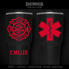 "Firefighter/EMS -3"" DECAL/STICKER for Yeti/Rtic//Tumbler/Coffee/Wine"