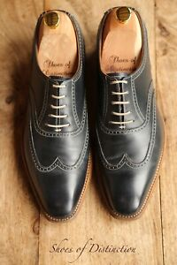 Crockett & Jones Blue Leather Oxford Brogue Shoes Men's UK 7 E US 8 EU 41