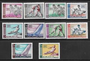 1965   AJMAN  -  SG.  27 / 36  -  SUMMER OLYMPICS   -  MNH