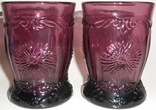 pair of purple amethyst glass Dugan Dahlia pattern tumbler cup goblets black set