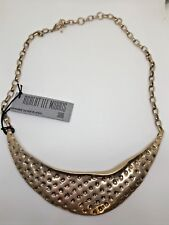 ~NWT~$55~ROBERT LEE MORRIS~HAMMERED GOLD TONE CHOKER LENGTH NECKLACE~SILVERPLATE