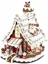 Gingerbread House Icing Snowy Village Candy Lighted Christmas 12In Free Shipping