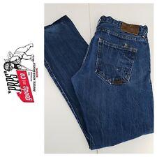 PRPS Mens Demon 36 / 32.5 Distressed Blue Jeans - front pockets have hole.
