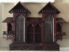Wood Wall Curio Display French Baroque Indonesian What Not Shelf Cabinet
