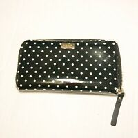 Kate Spade New York Polka Dot Patent Leather Zip Around Wallet Black Cream