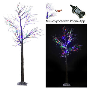 celeBRIGHT 6ft Snowy Effect Christmas Twig Tree - Music Synching Coloured Lights