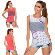 Women Sailors Crew Neck Vest Top Stripes Marine Loose Sleeveless T-Shirt FB329