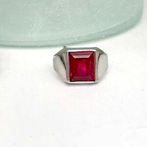 Vintage Art Deco Style Mens Sterling Silver 925 Red Sapphire Pinkie Size 11 Ring
