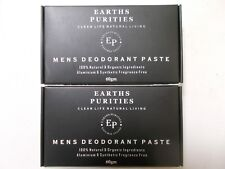 2 x 60g Earths Purities Mens Natural Deodorant Paste with Applicator