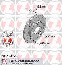 Disque de frein avant ZIMMERMANN PERCE 600.1158.52 VW SANTANA 32B 1.3 60ch