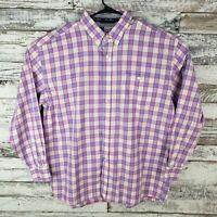 George Strait Cowboy Cut Collection By Wrangler Mens Button Down Pink Plaid XXL