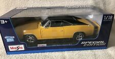 New 1969 Dodge Charger RT  Die Cast Maisto Special Edition 1:18 scale Yellow