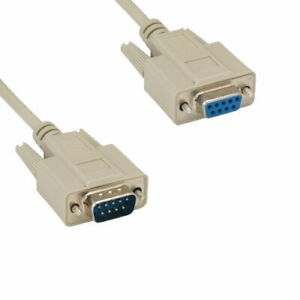 Kentek 1FT DB9 9 Pin Serial Extension Cable Cord RS232 DSub 28AWG Male to Female