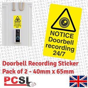 2 x Security Smart Video Door Bell Recording Sticker 40mm x 65mm Ring Doorbell