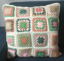 Handmade Crochet Granny Square Large Cushion Cream Pink Green