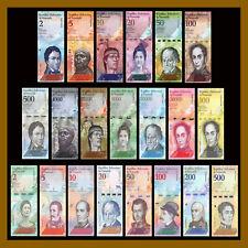 Venezuela 2 - 100000 Bolivares & 2- 500 Soberano (21 Pcs Full Set) 2007-2018 Unc