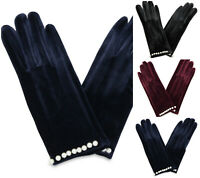 Ladies Pearl Studs Gloves Women Soft Winter Warm Cosy Hand Gloves 37745-04