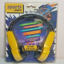 GPX Sports AM FM Headphone Radio AHP3200D YELLOW BLACK VINTAGE