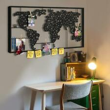 World Map Metal Wall Art Large, Decorative Pegboard, Modern Wall Decor