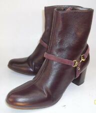 Talbots Womens Boots US 6 B Burgundy Leather Zip-Up Heels Dress Ankle Booties