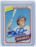 1980 BREWERS Sixto Lezcano signed card Topps #215 AUTO Autographed Milwaukee
