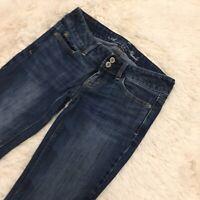 Women's AMERICAN EAGLE Artist Stretch Denim Low Rise Blue Jeans - 0 Short
