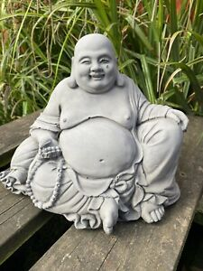 Dark Grey Garden Indoor Or Outdoors Concrete Statue Chinese Laughing Buddha Zen