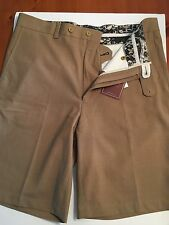 ANTAS Signature Collection Tan Wool Flat Front Shorts Made In Italy Men's Sz 38
