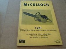 mcculloch chainsaw SUPERSAW 55A INSTRUCTION MANUAL AUG 1958 #55339  manual