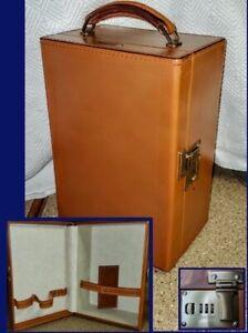 FLITECREST Leather TRAIN CASE ~ SESAMEE LOCK Liquor Bar Cosmetics VINTAGE 1950s