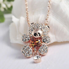 Teddy Bear Pendant Necklace With Citrine Austrian Crystal And Dangle