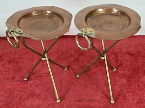 PAIR OF TABLES FOR SMOKING. COPPER AND BRONZE. F. VALENTÍ. XXTH CENTURY.