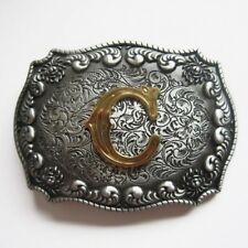 "Initial Letter ""C"" Cowboy Rodeo Western Metal Belt Buckle"